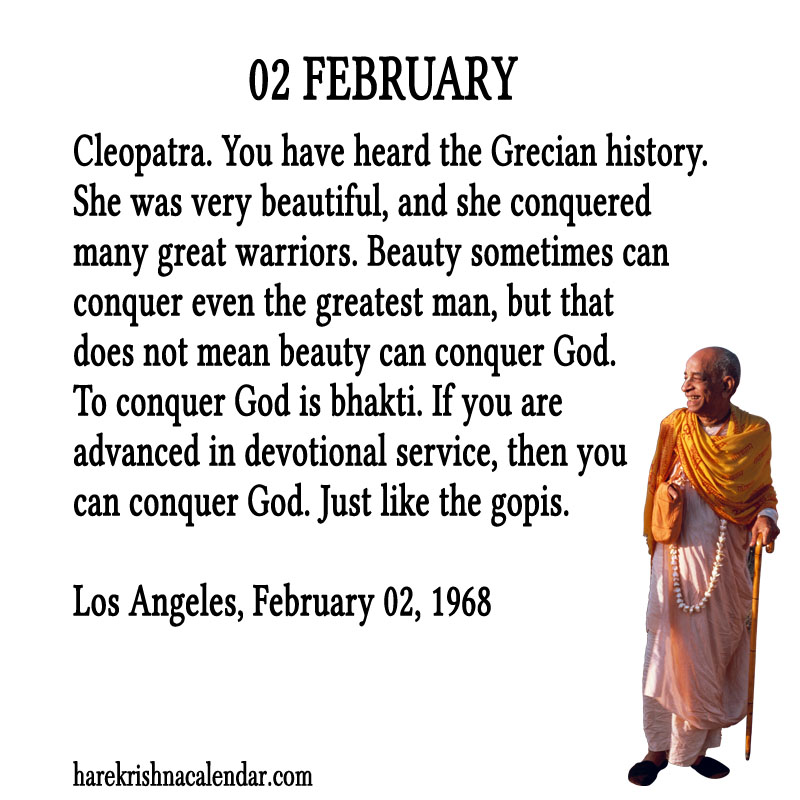 Prabhupada Quotes For The Month of Februry 02
