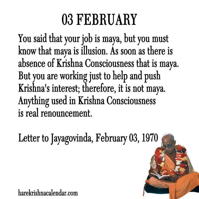Prabhupada Quotes For The Month of Februry 03