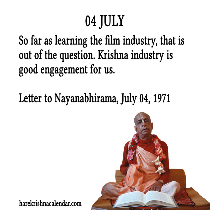 Prabhupada Quotes For The Month of July 04