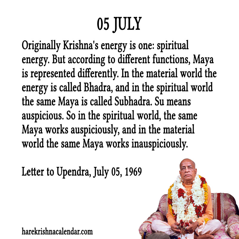 Prabhupada Quotes For The Month of July 05
