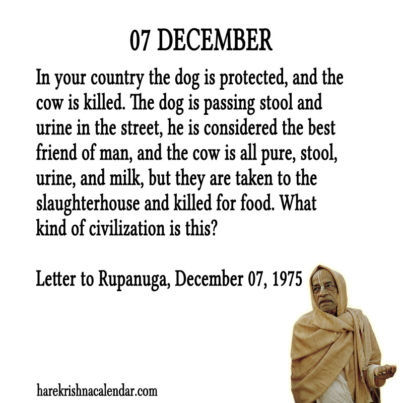 Prabhupada Quotes For The Month of December 07