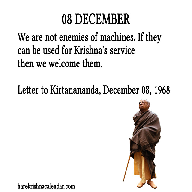 Prabhupada Quotes For The Month of December 08