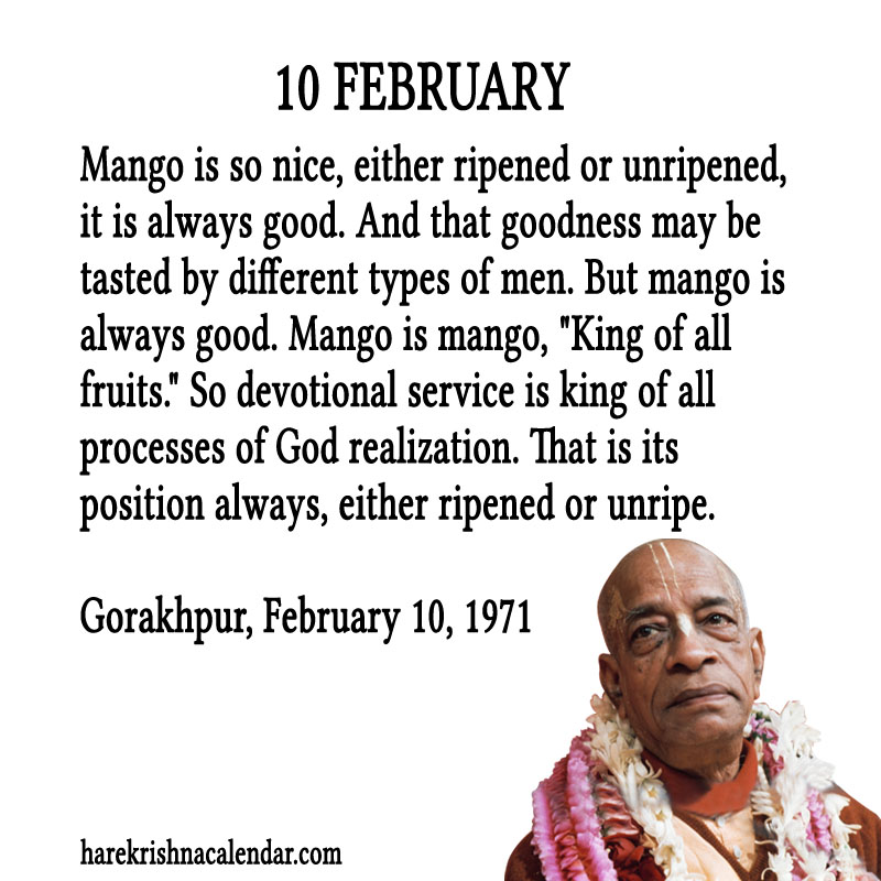 Prabhupada Quotes For The Month of Februry 10
