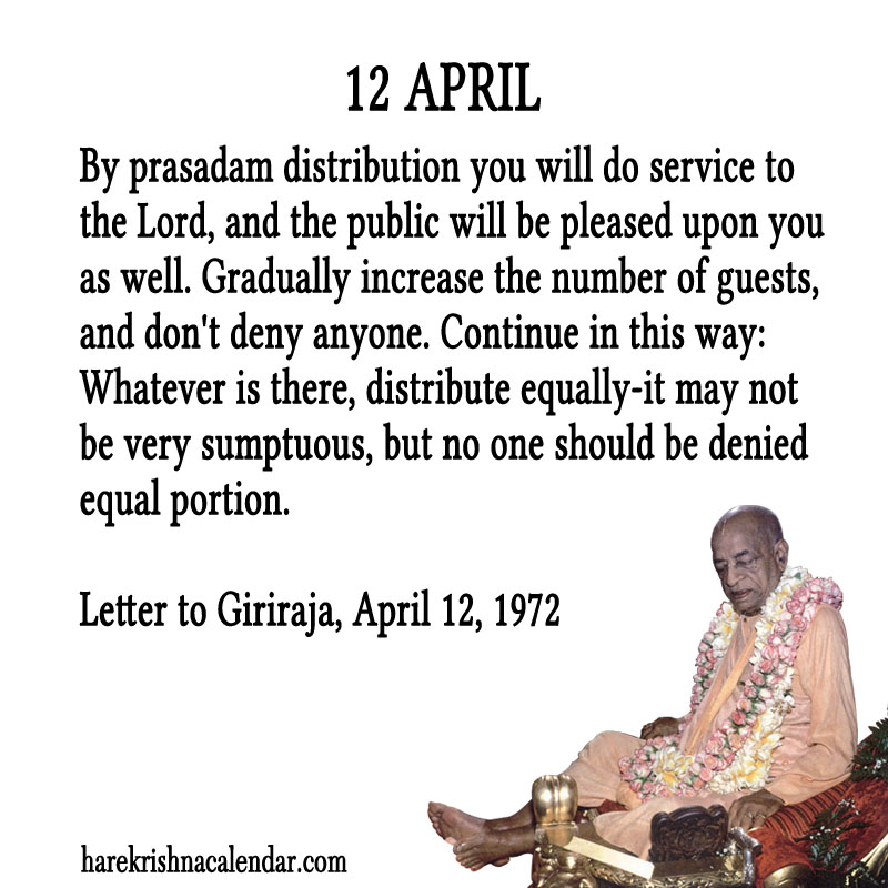 Prabhupada Quotes For The Month of April 12