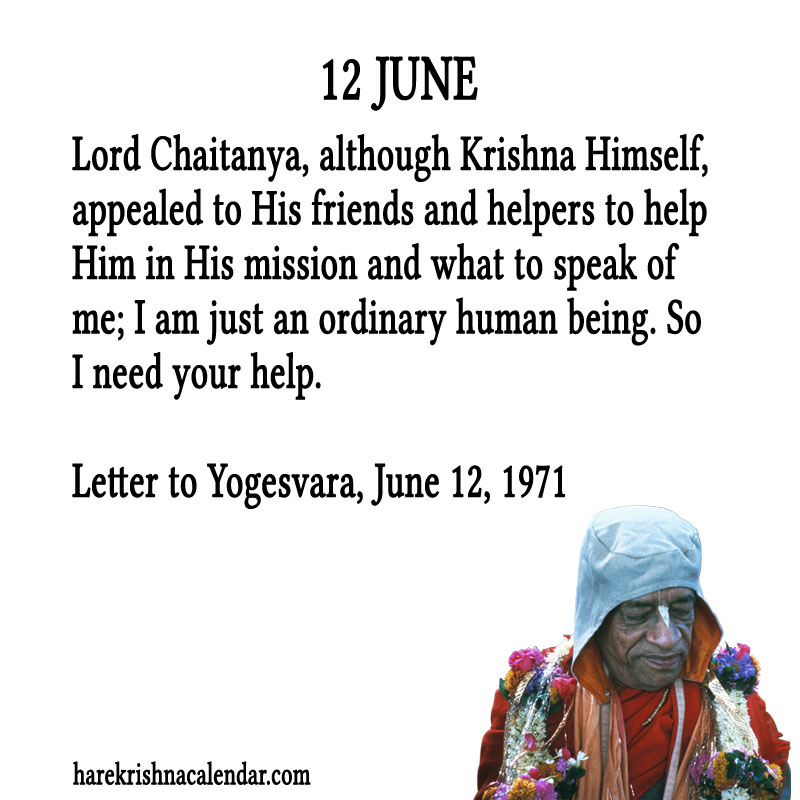 Prabhupada Quotes For The Month of June 12