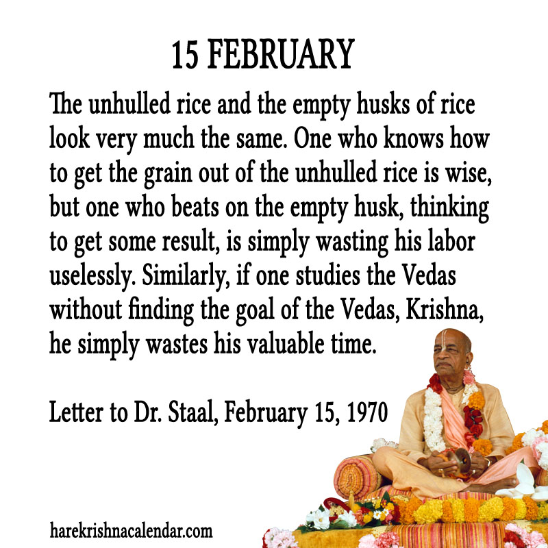 Prabhupada Quotes For The Month of Februry 15