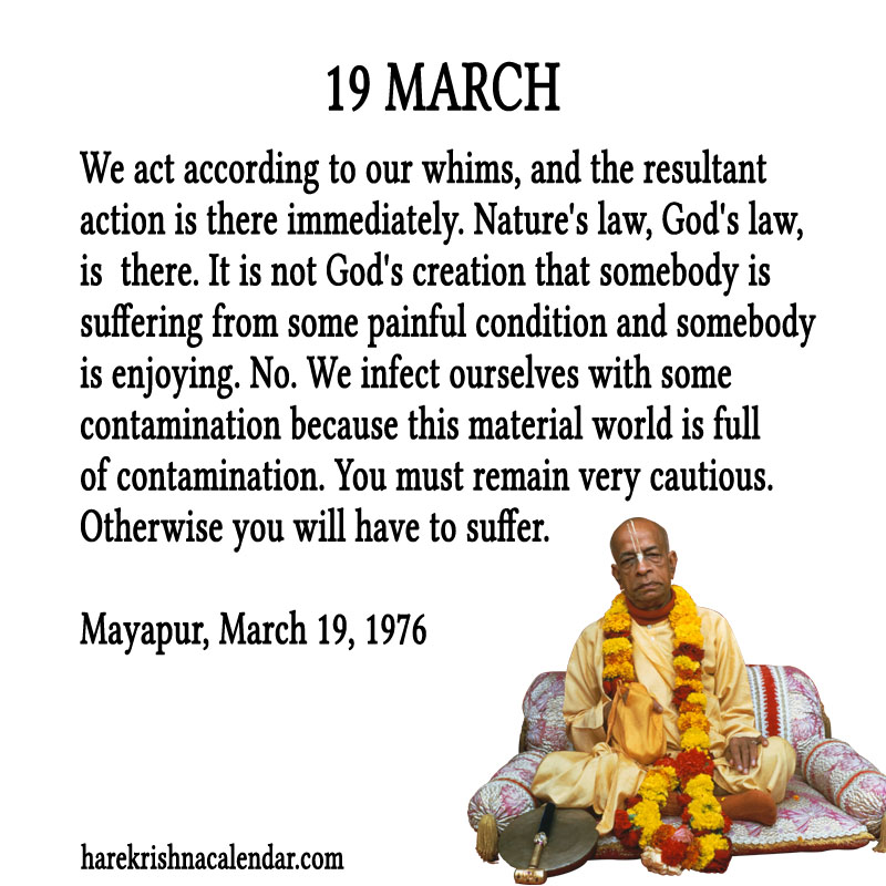 Prabhupada Quotes For The Month of March 19