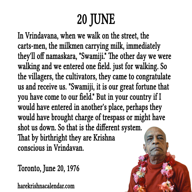 Prabhupada Quotes For The Month of June 20