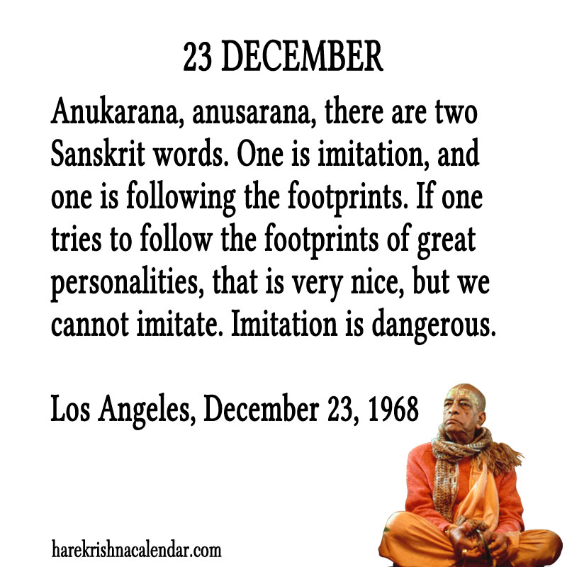 Prabhupada Quotes For The Month of December 23