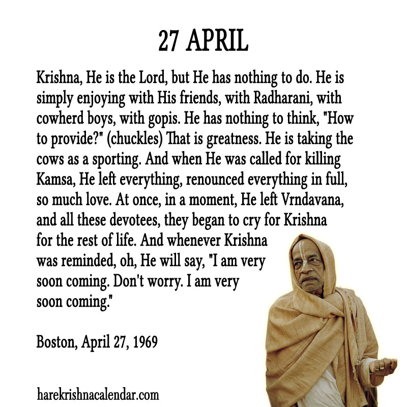 Prabhupada Quotes For The Month of April 27