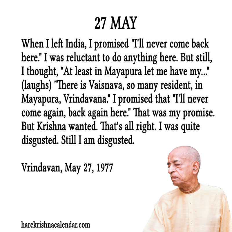 Prabhupada Quotes For The Month of May 27