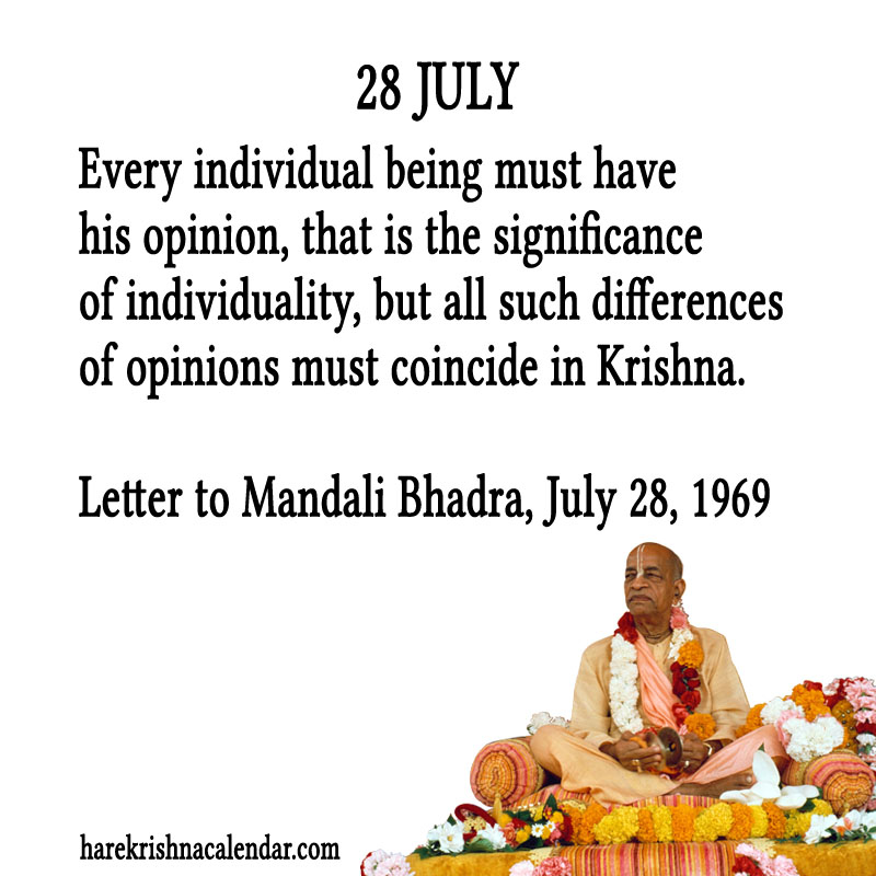 Prabhupada Quotes For The Month of July 28