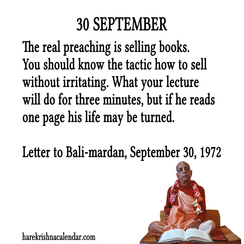 Prabhupada Quotes For The Month of September 30