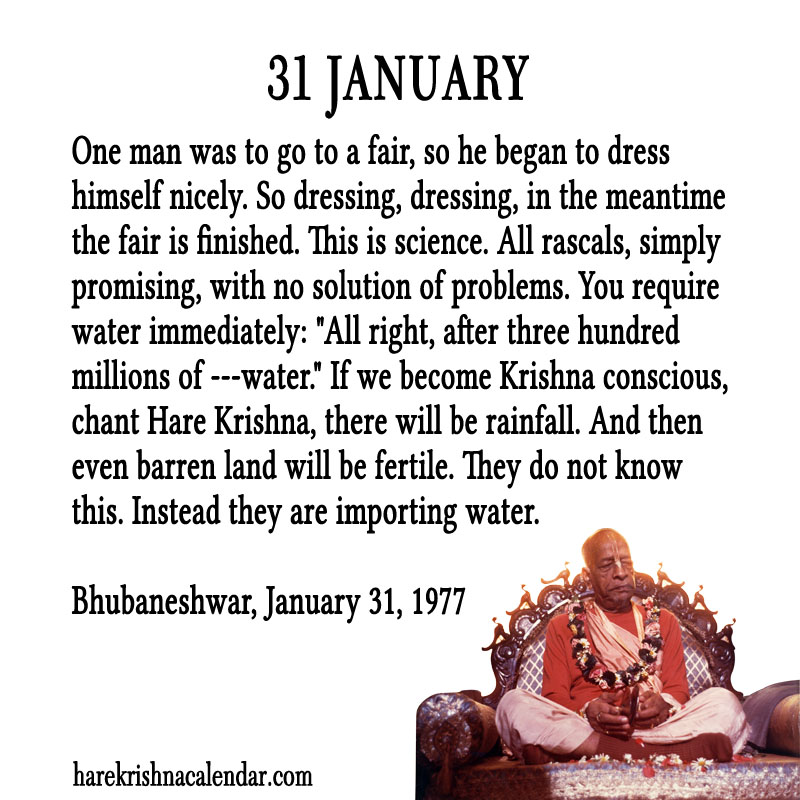 Prabhupada Quotes For The Month of January 31