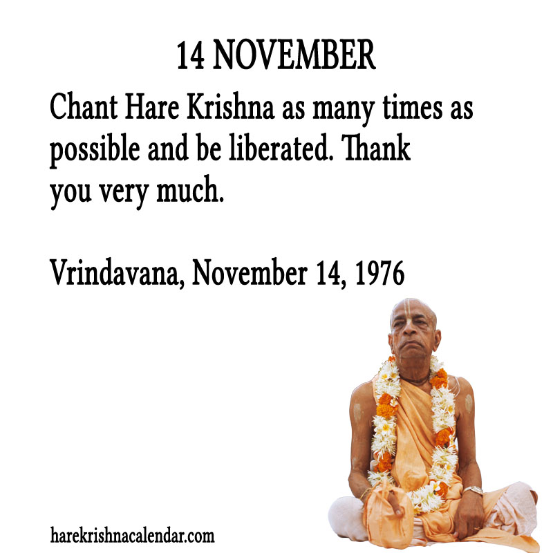 Prabhupada Quotes For The Month of November 14