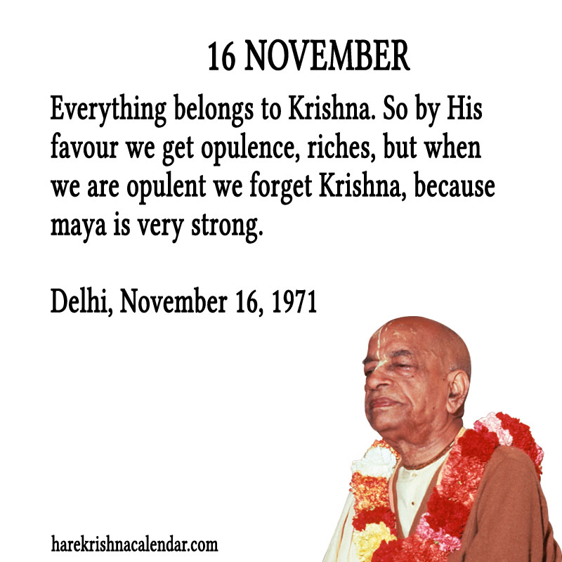 Prabhupada Quotes For The Month of November 16