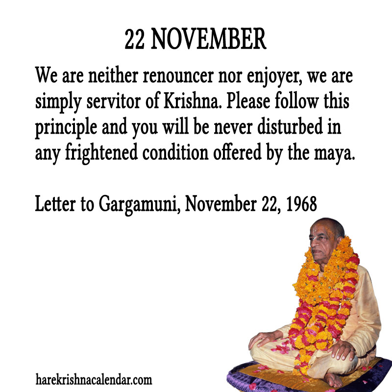 Prabhupada Quotes For The Month of November 22