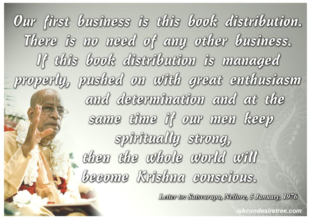 Quotes by Srila Prabhupada on Book Distribution - Our First Business