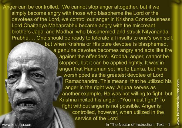 Quotes by Srila Prabhupada on Controlling Anger