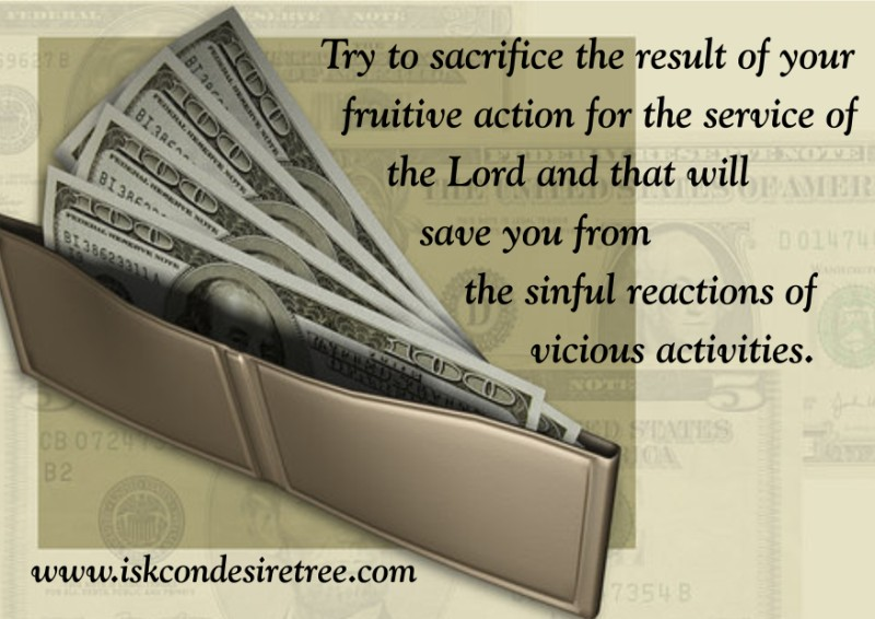 Quotes by Srila Prabhupada on Sacrificing Results of Our Fruitive Action