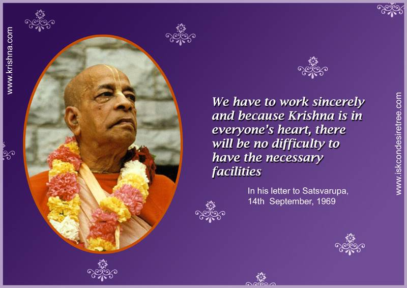 Quotes by Srila Prabhupada on Working Sincerely