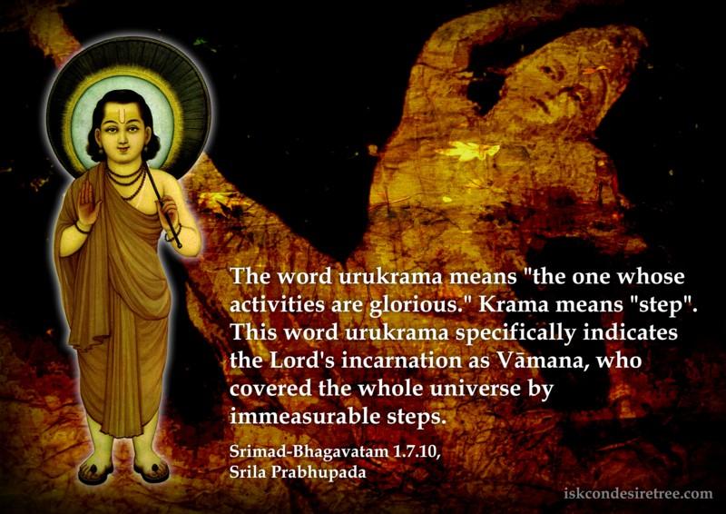 Srimad Bhagavatam on Meaning of Urukrama