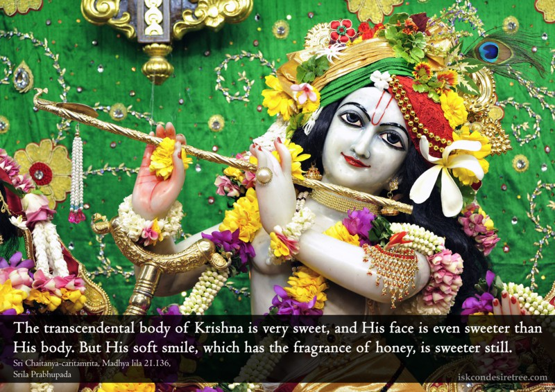 Chaitanya Caritamrta on Krishna's Soft Smile