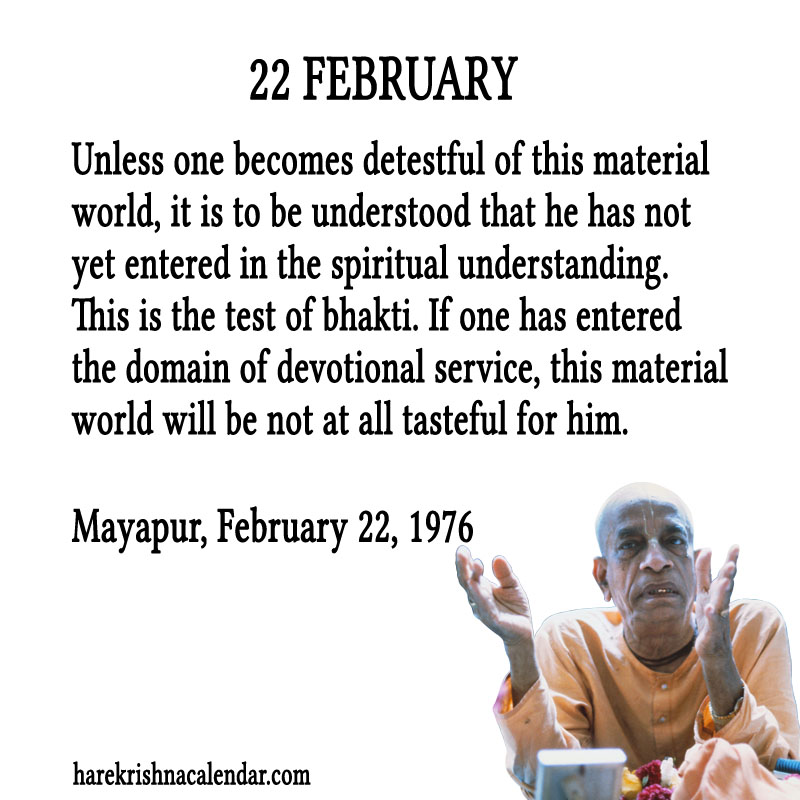 Prabhupada Quotes For The Month of Februry 22