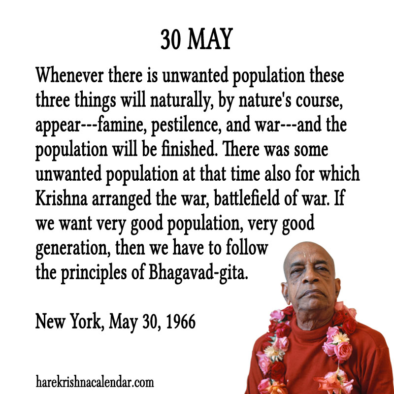 Prabhupada Quotes For The Month of May 30