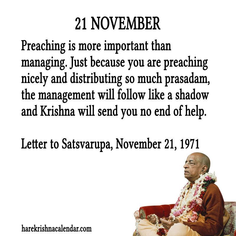 Prabhupada Quotes For The Month of November 21