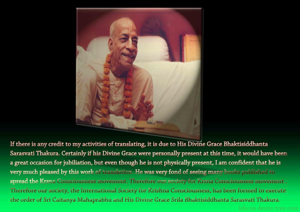 Quotes by Srila Prabhupada on Credit To His Activites of Translating