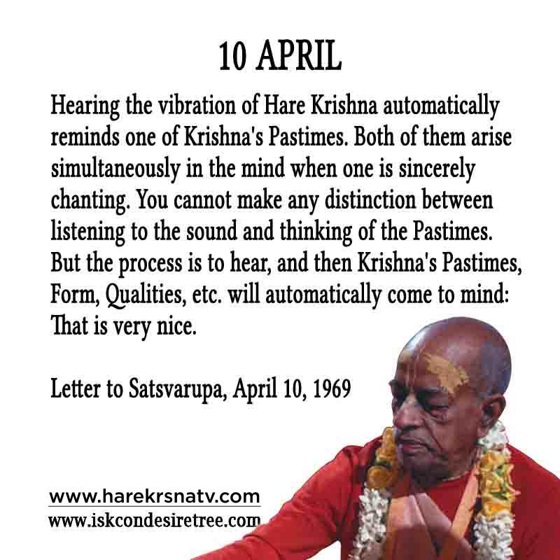 Prabhupada Quotes For The Month of 10 April