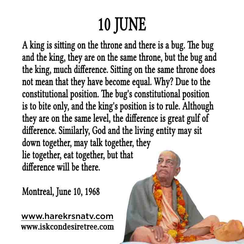 Prabhupada Quotes For The Month of 10 June