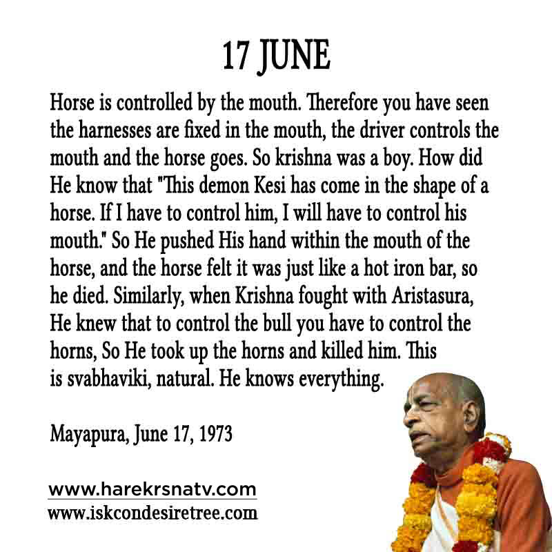 Prabhupada Quotes For The Month of 17 June