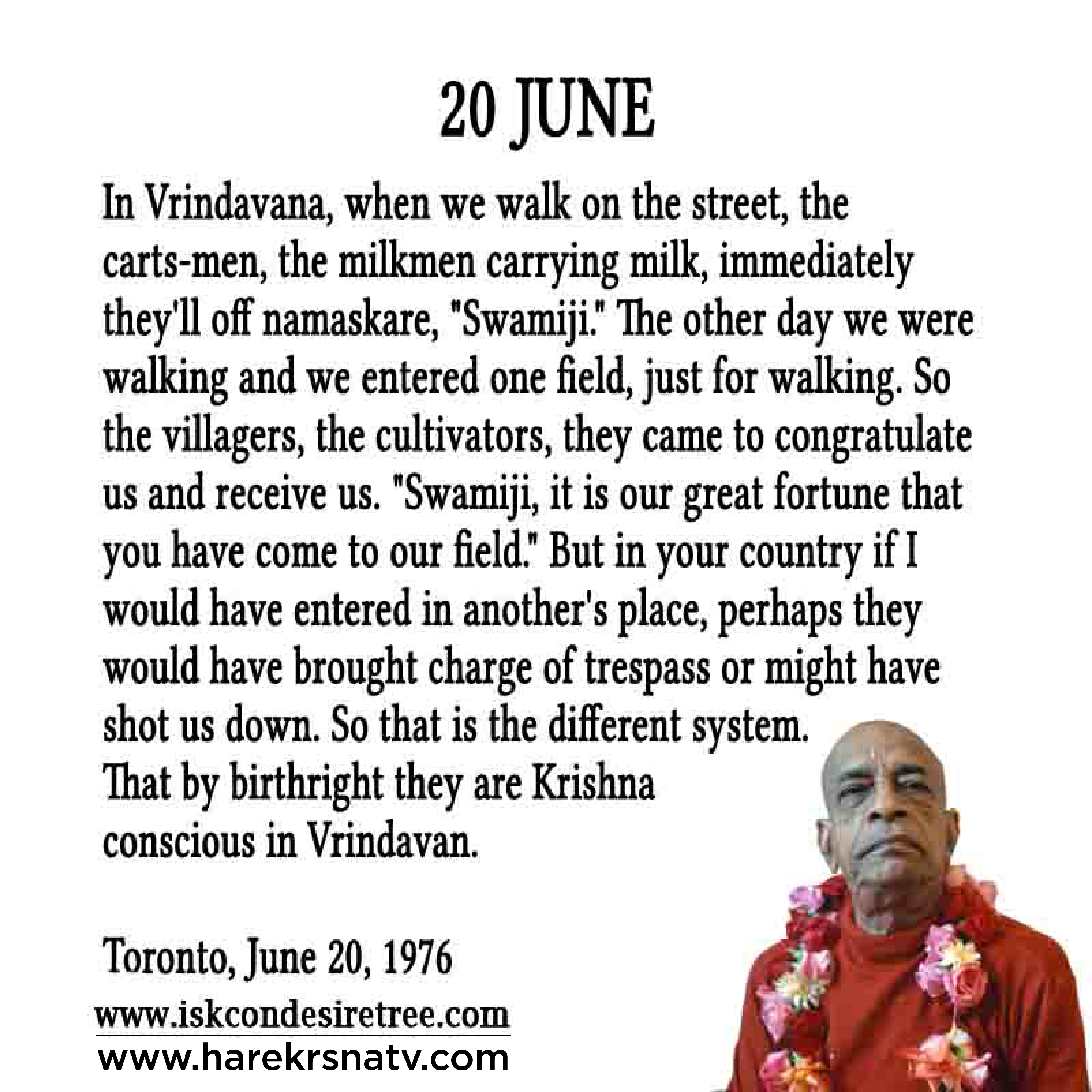 Prabhupada Quotes For The Month of 20 June
