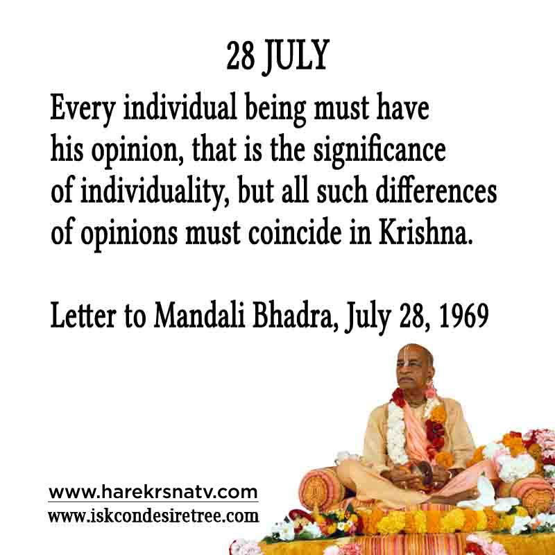 Prabhupada Quotes For The Month of 28 July