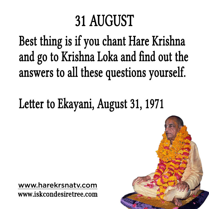 Prabhupada Quotes For The Month of 31 Augst