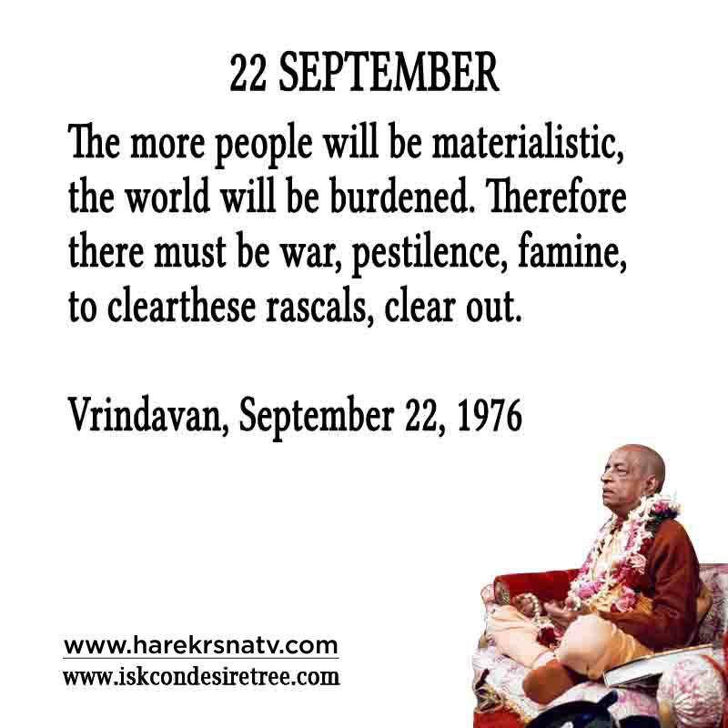 Prabhupada Quotes For The Month of 22 Sep